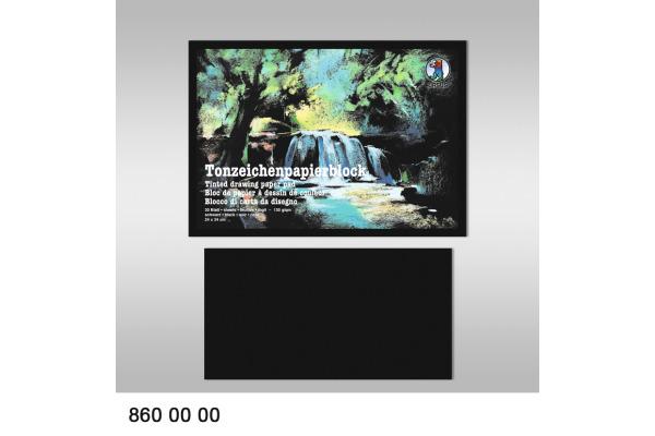 URSUS Tonzeichenpapier-Block 24x34cm 8600000 schwarz 130g, 30 Blatt