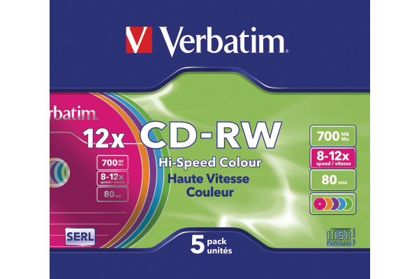VERBATIM CD-RW Slim 80MIN/700MB 43167 8-10x color 5 Pcs