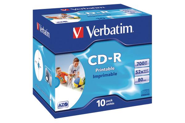 VERBATIM CD-R Jewel 80MIN/700MB 43325 52x fullprint 10 Pcs