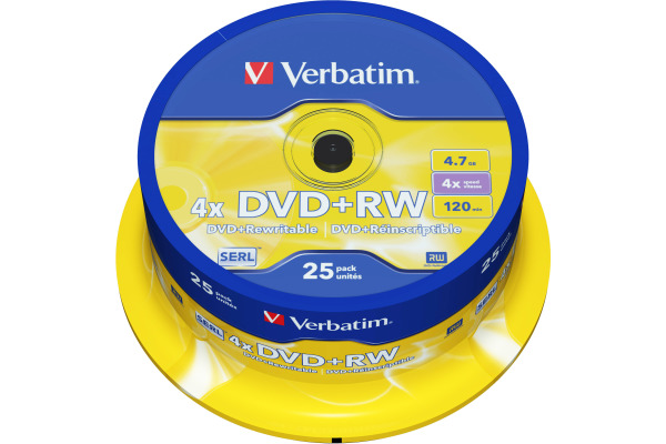 VERBATIM DVD+RW Spindle 4.7GB 43489 4x 25 Pcs