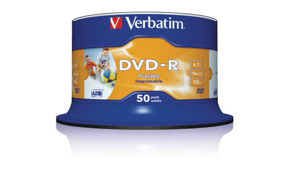 VERBATIM DVD-R Spindle 4.7GB 43533 1-16x fullprint o.L 50 Pcs