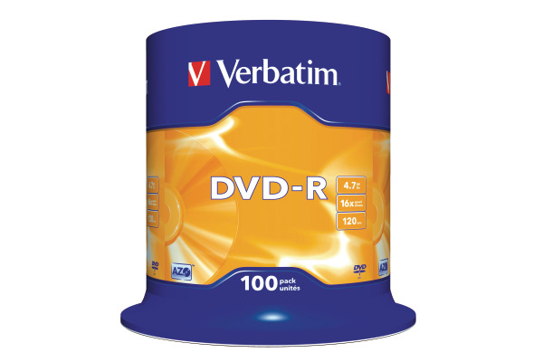 VERBATIM DVD-R Spindle 4.7GB 43549 1-16x 100 Pcs