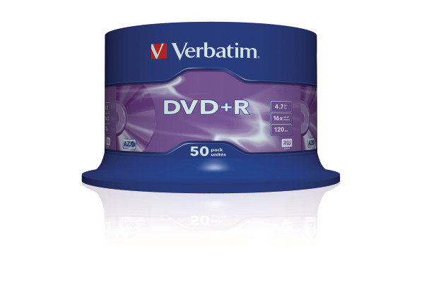 VERBATIM DVD+R Spindle 4.7GB 43550 1-16x 50 Pcs