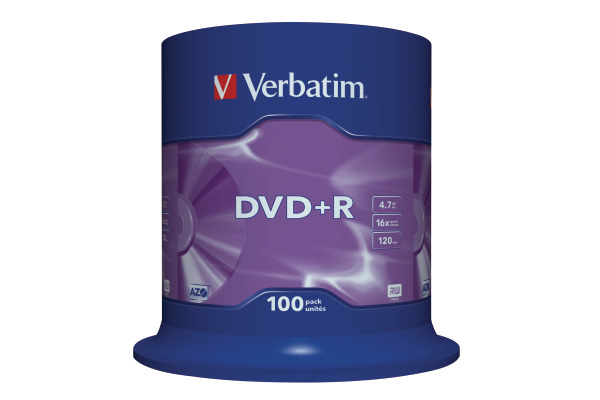 VERBATIM DVD+R Spindle 4.7GB 43551 1-16x 100 Pcs