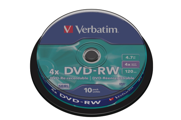 VERBATIM DVD-RW Spindle 4.7GB 43552 1-4x 10 Pcs