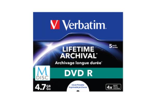 VERBATIM DVDR Jewel 4.7GB 43821 M-Disc IJ print. 5 Pcs