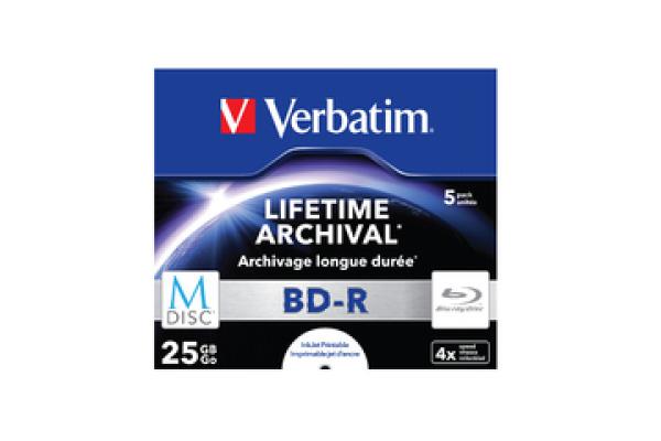 VERBATIM BD-R Jewel 25GB 43823 M-Disc IJ print. 5 Pcs
