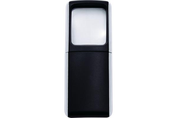 WEDO Rechtecklupe mit LED-Licht 2717501 schwarz Blister