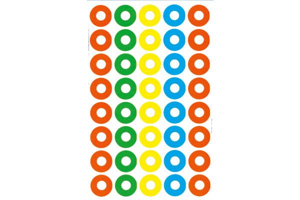 Z-DESIGN Sticker Verst.Ringe 8.4x16cm 3055Z farbig 4 Bogen, 160 Stück