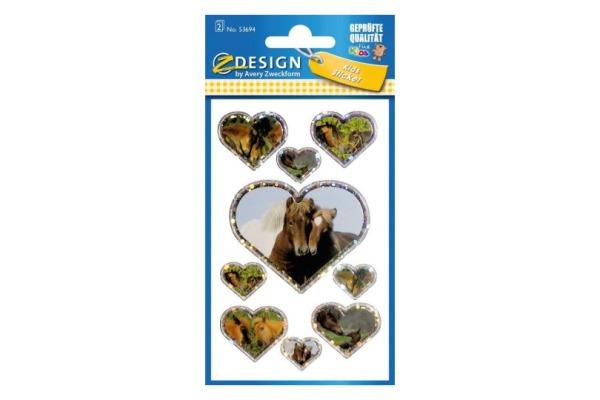 Z-DESIGN Sticker Pferde mit Herz 53694 2 Blatt, 76x120mm