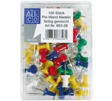 ALCO Pinwand-Nadeln 663-26 ass. 100 Stück Dispenser Nein, Grösse (Länge) 10.3cm, Anzahl (Stück) 100, Material Metall, Typ Pinwandnadel, Farbe(Filter) assortiert