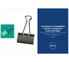 BÜROLINE Foldback-Klammer 51mm 112221 schwarz Vielseitig einsetzbar , abklappbare und abnehmbare Bügel , schwarz/verchromt., 51 mm breit, Klemmweite 28 mm, Dispenser Nein, Grösse (Länge) 51, Anzahl (Stück) 1, Material Metall,