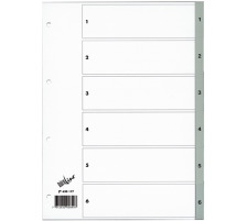 BÜROLINE Register PP grau A4 620177 1-6