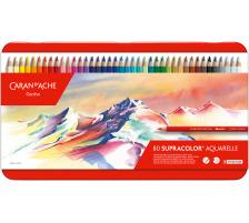 CARAN D'A Farbstifte Supracolor 3,8mm 3888.380 ass. in Metallsch. 80 Stück Aquarellstifte für höchste Ansprüche , wasservermalbar , weich , Mine 3,8 mm ø , für grossflächige Arbeiten , in Metall-Schachteln &q