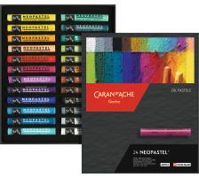 CARAN D'A Wachsmalstift Neopastel 7400.324 24 Farben Karton Wasserfeste, Künstler-Ölkreiden, mit Terpentin anlösbar, ausgezeichnete Lichtbeständigkeit und Leuchtkraft., Kartonschachtel, Anzahl (Stück) 24, Verpackung Kart