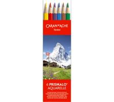 CARAN d'A Farbstifte Prismalo 3mm 999.306 assortiert 6 Stück Aquarell-Farbstifte , wasservermalbar , kombinierbar mit Malkreiden und Wasserfarben , FSC., 6 Farben, Plastik-Etui, Eigenschaften 6-eckig,wasserlöslich, Verpackung Karton, T