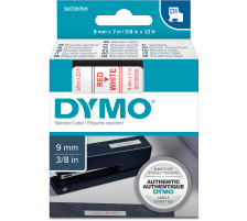 DYMO Schriftband D1 rot/weiss S0720700 9mm/7m Für DYMO-Geräte: 1000 Plus, 3500, 4500, 5500 und Pocket / LabelPoint 150, 200, 250, 300 und 350 / LabelWriter Duo / LabelManager 500TS, PnP, PnP Wireless, 280, 420P, 360D, 260P, 210D, 160, 350,