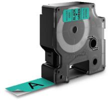 DYMO Schriftband D1 S0720890 schwarz/grün 19mm/7m Für DYMO-Geräte: 1000 Plus, 3500, 4500, 5500 und Pocket / LabelPoint 150, 200, 250, 300 und 350 / LabelWriter Duo / LabelManager 500TS, PnP, PnP Wireless, 280, 420P, 360D, 260P, 210D, 1