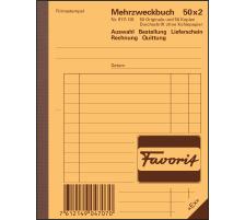 FAVORIT Mehrzweckbuch Deutsch A6 9111 OK Durchschreibepapier 50x2 Blatt