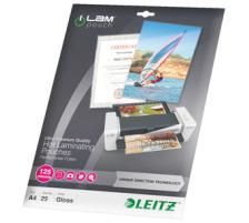 LEITZ Laminierfolie A4 74820000 UDT 125 Micron 25 Stk. Unique Direction Technology , Ultra-Premium Qualität , einfache Verwendung, da die Einlegerichtung vorgegeben ist, Laminieren ohne Folienstau ist dadurch garantiert , einwandfreies Verschliessen