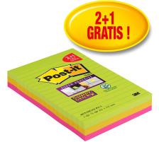POST-IT SuperSticky Promo 101x152mm 4675SSGYF neongrün, fuchsia 2+1