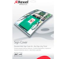 REXEL Standard-Schilderfolie A4 2104252 matt, 10 Stück Erstellen Sie im Handumdrehen nicht reflektierende Schilder , verringert Lichtreflexe durch Deckenbeleuchtung, sodass Ihr Schild besser lesbar ist ,,Verschweissen Sie Ihre Vorlage mit der matten