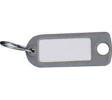 RIEFFEL Schlüssel-Anhänger 8034FS GR grau 100 Stück S-Haken , Aufhängeöse , einseitig beschriftbar , Grösse: 22 x 55 mm., Mit S-Haken und Aufhängeloch, Zubehör Ja, Material Kunststoff, Anzahl Schlüssel 100
