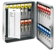 RIEFFEL Schlüsselkasten KyStor grau KR-15.28 24,2x30x8cm 28 Haken Gehäuse aus Stahlblech , lackiert , präzise Verarbeitung Stift-Schliesszylinder , 2 Schlüssel , mit schwenkbarem Schlüsselverzeichnis , verstellbare Hakenleist