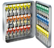 RIEFFEL Schlüsselkasten KyStor grau KR-15.42 32x24x8cm 42 Haken Gehäuse aus Stahlblech , lackiert , präzise Verarbeitung Stift-Schliesszylinder , 2 Schlüssel , mit schwenkbarem Schlüsselverzeichnis , verstellbare Hakenleiste