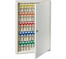 RIEFFEL Schlüsselkasten KyStor weiss KR-21.100 55×38×6,5cm 100 Haken Stahlblech , weiss lackiert , Ecken kantig , Zylinderschloss , 2 Schlüssel , verstellbare Hakenleisten , mit VISU-Color-System , numerierte farbige Schlüs