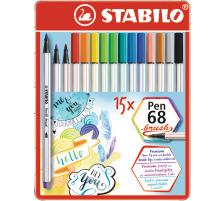 STABILO Fasermaler Pen 68 Brush 568/15-32 ass. 15 Stück Metalletui