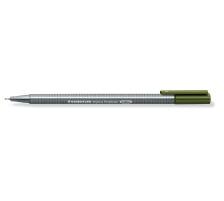 STAEDTLER Triplus Fineliner 0,3mm 334-57 olivgrün Superfein , metallgefasste Spitze , ergonomischer, dreieckiger Schaft , Kappe mit Clip , nicht nachfüllbar., Strichbreite 0,3 mm, Schriftfarbe olivgrün, Zubehör Nein, Etui Nein, Na