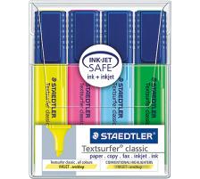 STAEDTLER Textsurfer Classic 364WP4 4 Farben ass. Plastik-Etui, transparent, nachfüllbar., Sekundenschnell trocken, Zubehör Nein, Etui Nein, Display Schachtel, Strichbreite mittel, Schaftfarbe multicolor, Strichbreite min. 1mm, Strichbreite