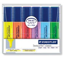 STAEDTLER Textsurfer Classic 364WP6 6 Farben ass. Plastik-Etui, transparent, nachfüllbar., Sekundenschnell trocken, Zubehör Nein, Etui Nein, Display Schachtel, Strichbreite mittel, Schaftfarbe multicolor, Strichbreite min. 1mm, Strichbreite