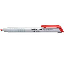 STAEDTLER Lumocolor non-perm. 768N-2 rot Druckstift mit bequemer Einhandbedienung, kein Spitzen erforderlich, Mine nach Gebrauch einschiebbar, nachfüllbar, wasserlöslich, abwaschbar von vielen glatten Flächen (Kunststoff, Metall, Lack,