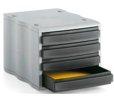 STYRO Schubladenbox schwarz/grau 248850098 4 Fächer