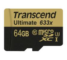 TRANSCEND microSDXC 64GB Ultimate 633x TS64GUSDU (UHS-I, U3) incl. SD-Adapter