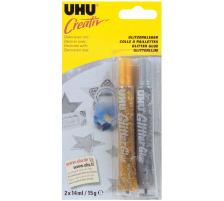 UHU Glitter Glue Creative 44120 gold/silber 2x20ml