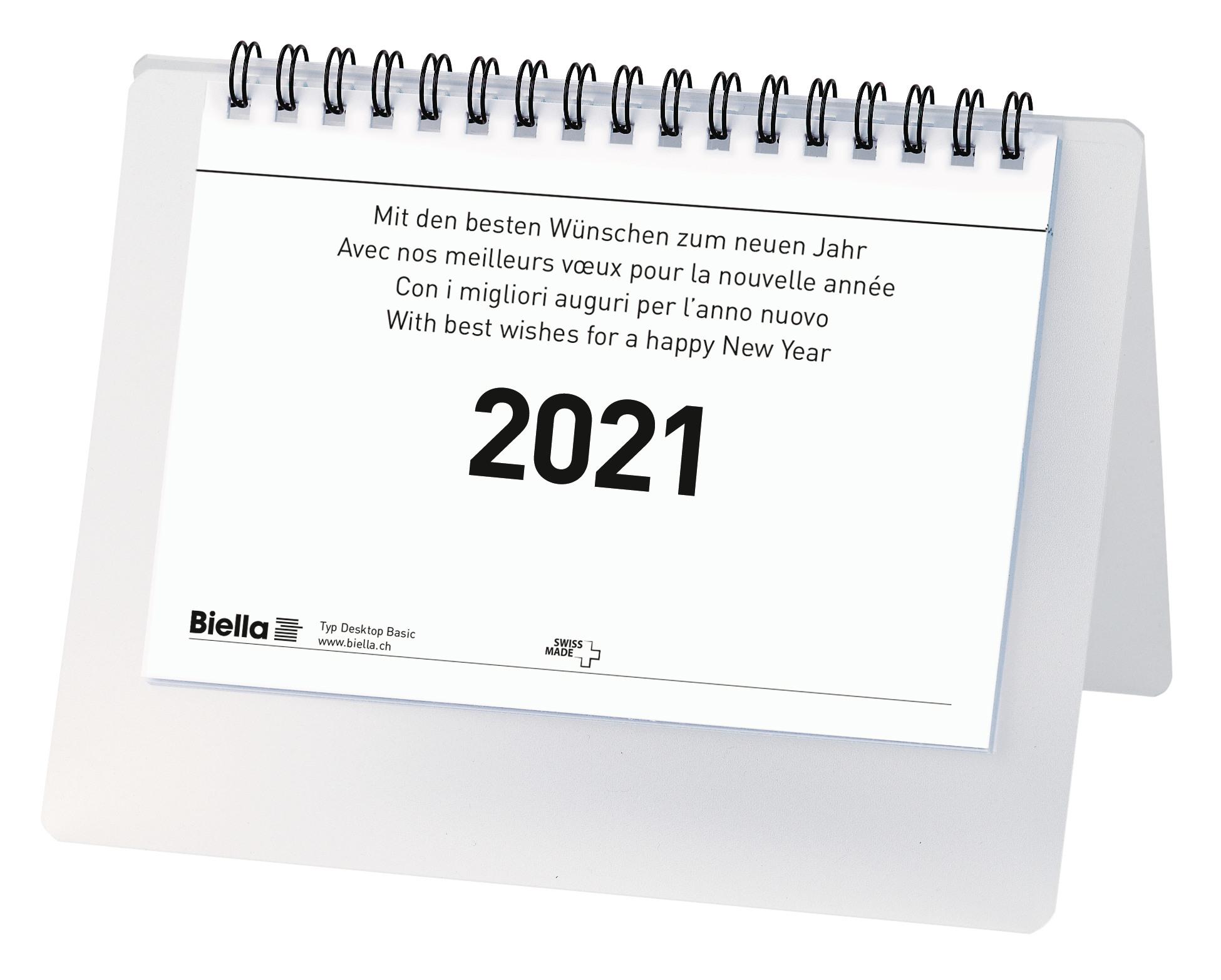 BIELLA Tischkalender Desktop Basic 0887061.000021 Wire-O 17,7x13,5cm, 2021