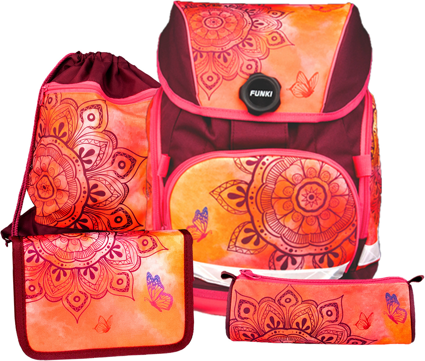 FUNKI Joy-Bag Set Mandala 6011.518 orange/rouge foncé 4 pcs.