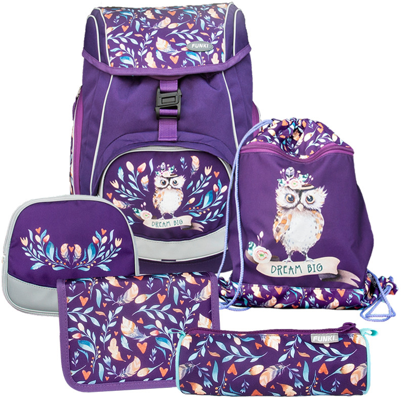 FUNKI Flexi-Bag Set Hippie Owl 6040.608 lilac 5 pcs.