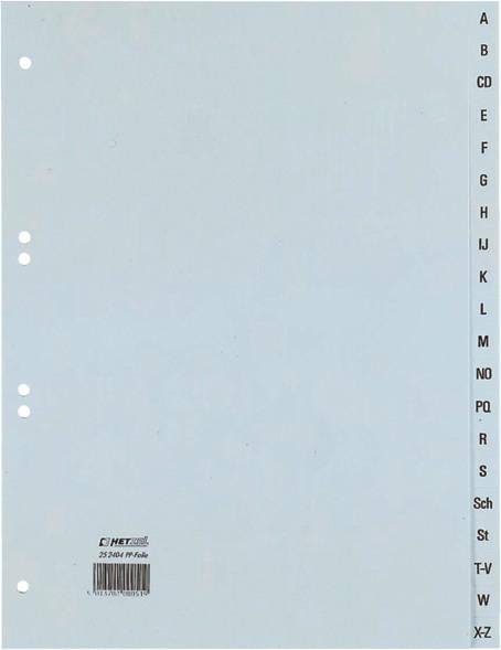 HETZEL Register Kunststoff A4 25240481 A-Z grau