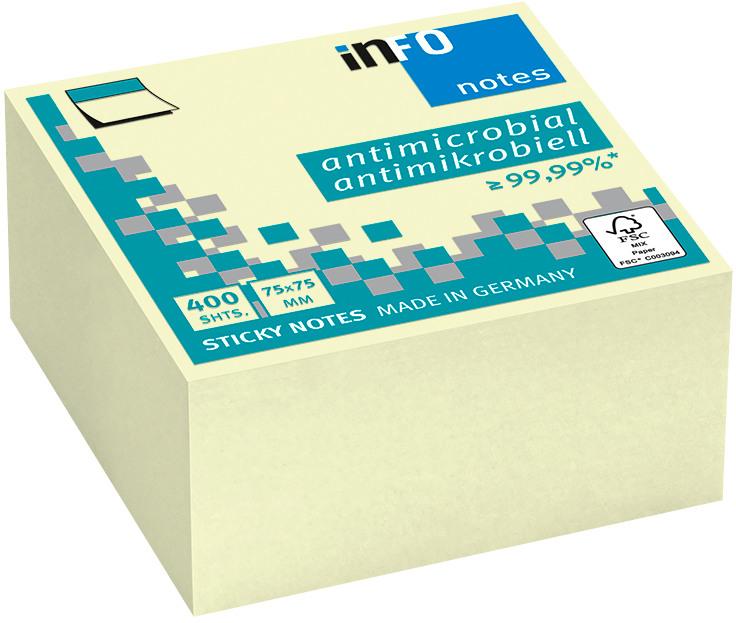INFO Haftnotizen Cube 75x75mm 5120-01 antimikrobiell, gelb 400 Blatt