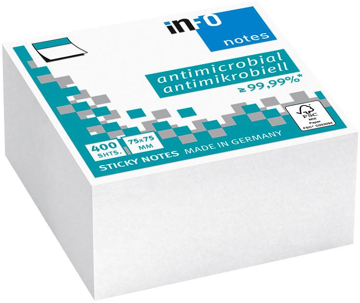 INFO Haftnotizen Cube 75x75mm 5120-08 antimikrobiell, weiss 400 Bl.