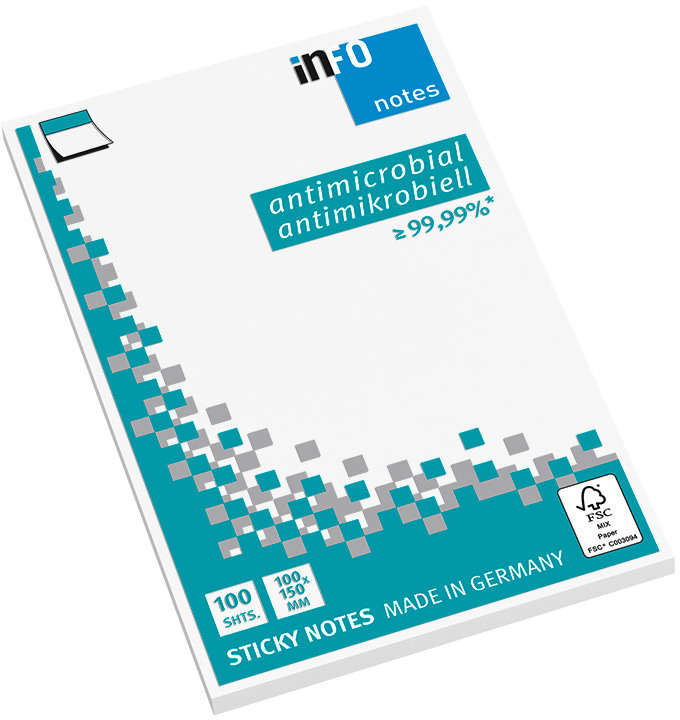 INFO Haftnotizen 100x150mm 5169-08 antimikrobiell, weiss 100 Bl.
