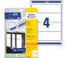 AVERY ZW. Ordner-Etiketten 61x192mm L4761-25 weiss 100 Stück/25 Blatt