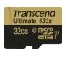 TRANSCEND microSDHC 32GB Ultimate 633x TS32GUSDU (UHS-I, U3) incl. SD-Adapter