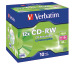 VERBATIM CD-RW Jewel 80MIN/700MB 43148 8-12x 10 Pcs